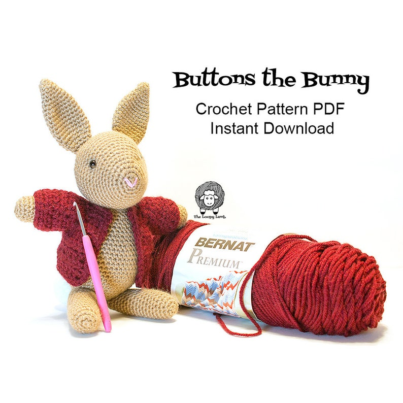 Buttons the Bunny  Crochet Pattern PDF Instant Download  image 0