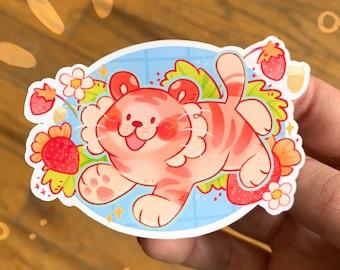 Strawberry Tiger Sticker // Cute Happy Animal Cat Sticker
