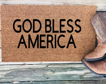 God Bless America Welcome Mat, American Doormat, Patriotic Door Mat, Fourth  Of July Decor, Independence Day Front Porch, USA Welcome Home,