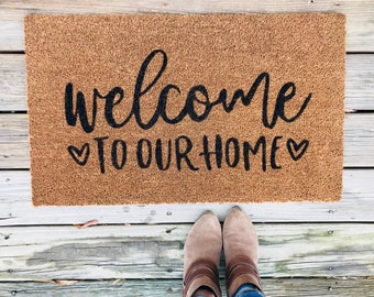 Welcome mat, Doormat, Custom Doormat, Personalized Doormat, Gift for married couples, Bridal Shower Gift, New Home Gift, Farmhouse Decor