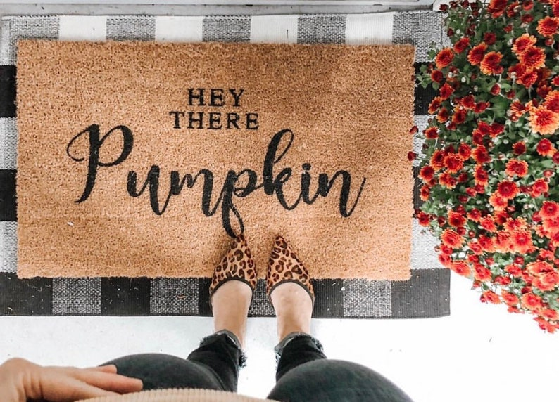 Hey There Pumpkin Welcome Mat Doormat Door mat pumpkin image 0