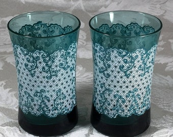 Vintage Pair of Juice Glasses (2) Teal Glass with White and Teal Enameling 6 ounces Breakfast Cottage