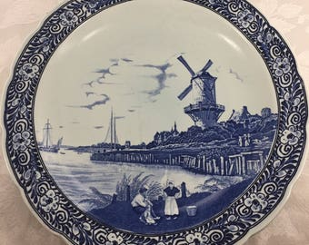 Large Blue and White Charger Royal Sphinx Delfts Petrus Regout Maastricht Holland Ships Village Windmill Water Shoreline Family Countryside