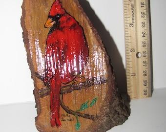 Cardinal on Wood
