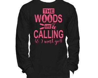 Camping Shirt, The woods are calling, Girls vinyl shirt, Outdoors shirt