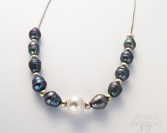 Convertible Pearl and gemstone necklace with sterling silver chain and beads
