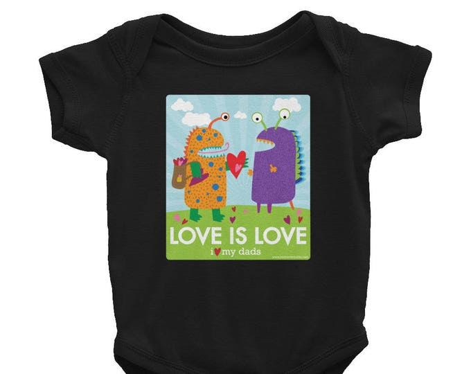 Love is Love - I Love My Dads Infant Bodysuit / LGBT & Gay Pride / Two Dads / Gay Dads / Baby Shower Gift / Donate to ACLU