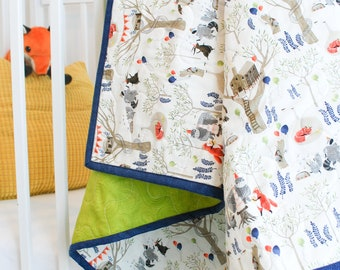 Newborn Baby Blanket - Fox and Friends have a Birthday Party in the Woods, Green Back, Blue Binding, Newborn Baby Quilt, Baby boy Blanket