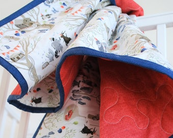 Newborn Baby Blanket - Fox and Friends have a Birthday Party in the Woods, Red Back, Blue Binding, Newborn Baby Quilt, Baby Boy Blanket