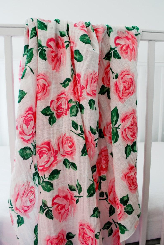 Pink Roses Floral Gauze Swaddle Blanket Flower Swaddle Blanket Baby Shower gift Lightweight Swaddle for Newborns Baby Girl Gift