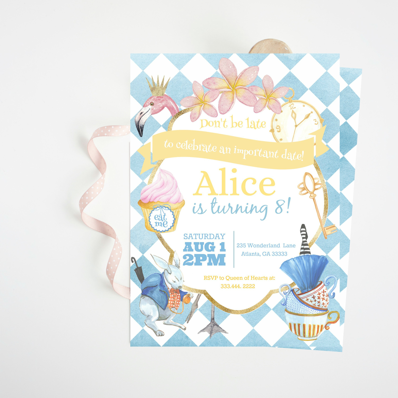 Alice in Wonderland Invitation Alice in Wonderland Birthday | Etsy