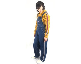cacc4729023 FLASH SALE 90s Deadstock Vintage Revolt Denim Overalls with Gray   Navy and  White Athletic Stripes