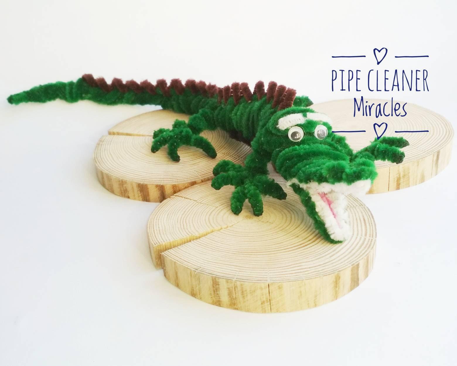 Pipecleaner Tiere für Kinder grün Krokodil aus Chenille Stöcke
