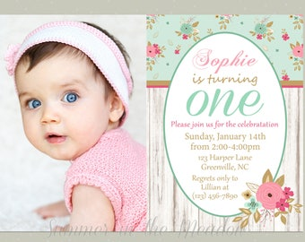 Shabby Chic Birthday Party Invitation, First Birthday Invite, Pink and Mint Party,  Invitation with Photo, Any Age, Pink and Teal
