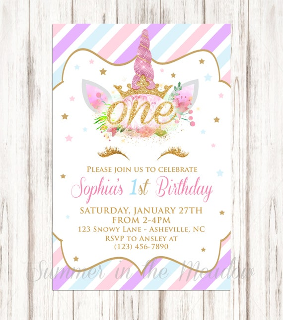 Unicorn First Birthday Party Invitation Gold Glitter First