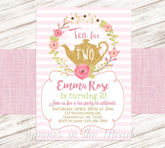 Tea For Two Birthday Party Invitation Invite Girl Turning Teapot With Flowers