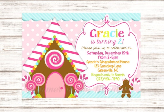 Gingerbread House Birthday Party Invitation Gingerbread Birthday