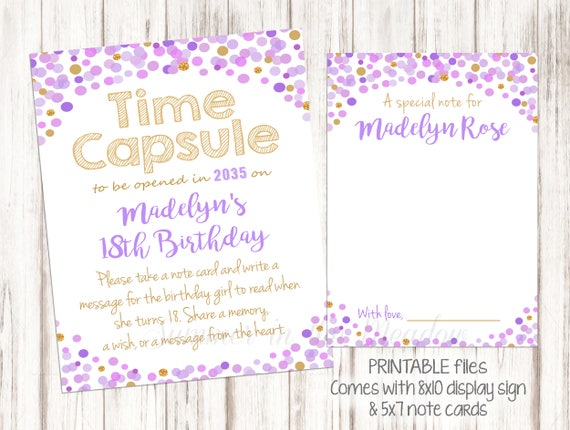 Purple And Gold Confetti Time Capsule Birthday Personalized 18th Note For Girl Matching First