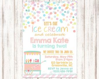 Ice Cream Birthday Party Invitation, Birthday Invite, Confetti Dots, Party Invite, Icecream, Ice Cream Cart, Any Age