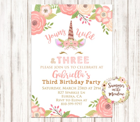Young Wild And Three Birthday Party Invitation Unicorn Invitation
