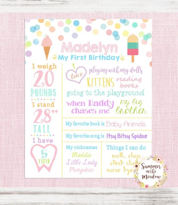 picture regarding First Birthday Chalkboard Printable named Ice Product Birthday Chalkboard Indicator, White Birthday Board