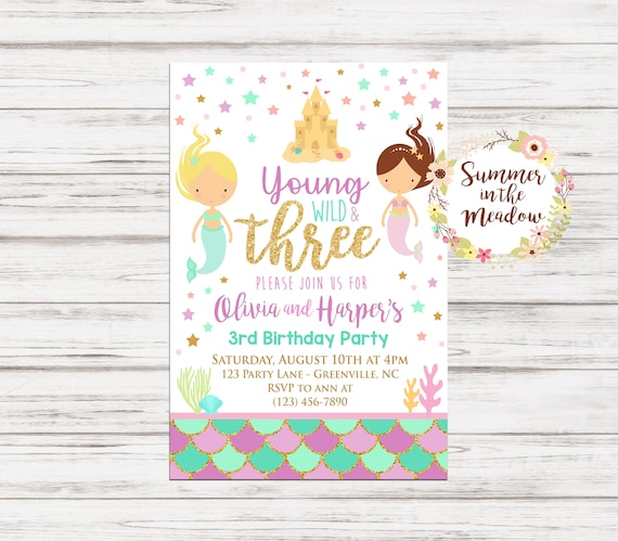 Mermaid Young Wild And Three Birthday Party Invitation Twin Sisters Invite 3rd Purple Aqua Mint