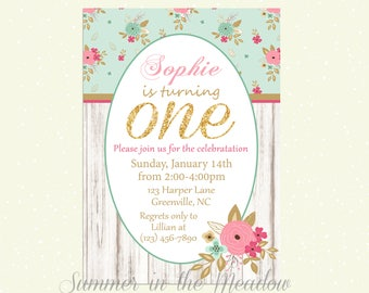 Shabby Chic Birthday Party Invitation, Gold Glitter One Birthday Invite, Pink and Blue Party,  Flowers, Girl Party Invitation