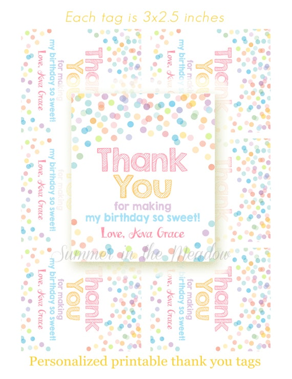 photo about Printable Hang Tags titled Confetti Birthday Thank Yourself Tags, Printable dangle tags with popularity, Matching Thank Yourself Tags