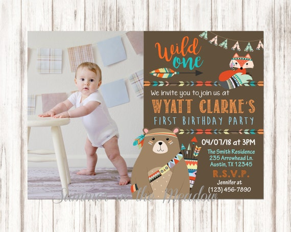 Wild One Birthday Party Invitation Hes A