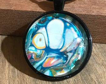 Round Pendant Necklace Wearable Art Boho Chic Style Jewelry Blue White Abstract Multicolor  With Black Cord