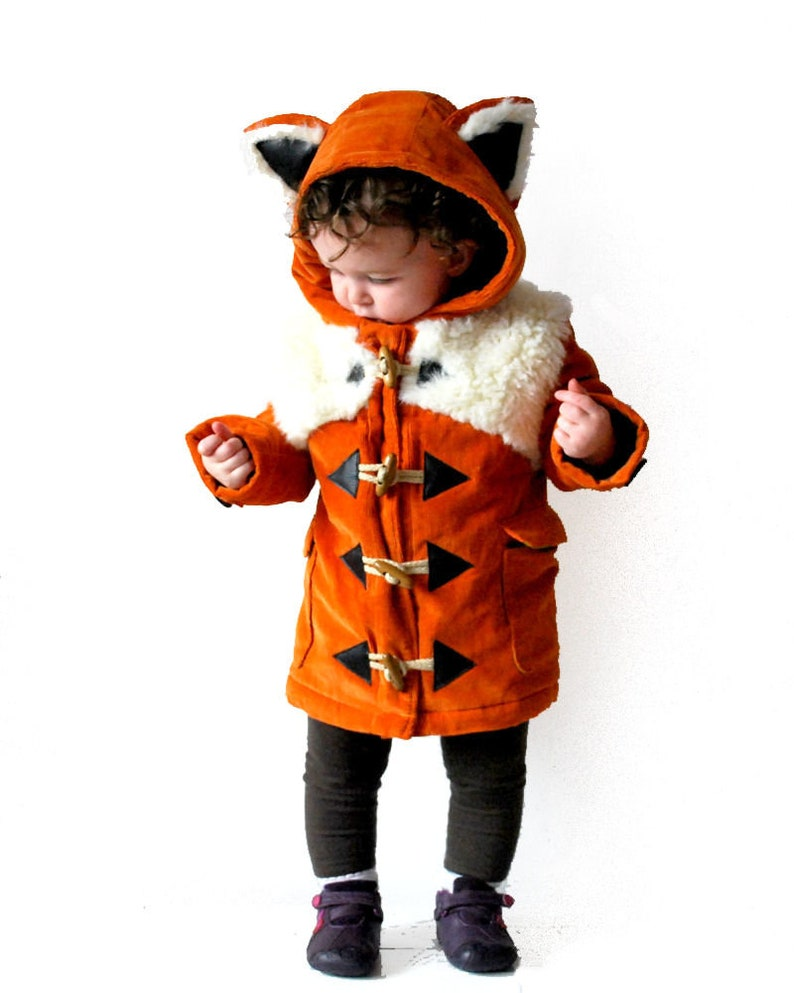 a9e403a2c Children's fox coat JULY 2019 pre-order duffle jacket | Etsy