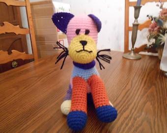 New HANDMADE Crocheted Patchwork Cat