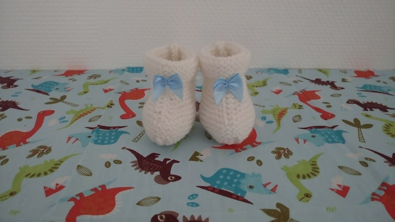 3 or 6 months Baby girl or boy layette white slippers with birth size blue satin bows 1