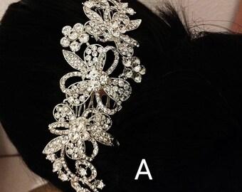 Wedding Flower Hairpiece Bridal Headpiece Long Rhinestones Hair Jewelry Silver Hair Comb