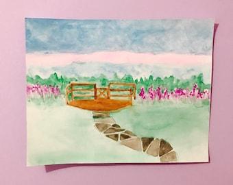 beach backyard original watercolor painting