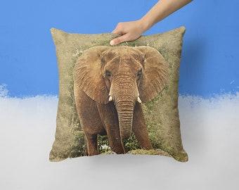 TERRA African Elephant Pillow Elephant Decor Elephant Gifts Elephants 18x18 Throw Pillows Africa Home Decor Elephant Cushion Safari Animals