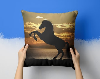 Rising Horse At Sunset Horse Pillow 18x18 Throw Pillows Horse Decor Animal Gift For Horse Lover Gifts Horse Gifts Animals Best Friend Gift