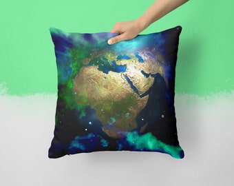 Globe World Map Earth Universe Outer Space Pillow Blue Pillow 18x18 Throw Pillows Best Friend Gift Home Decor