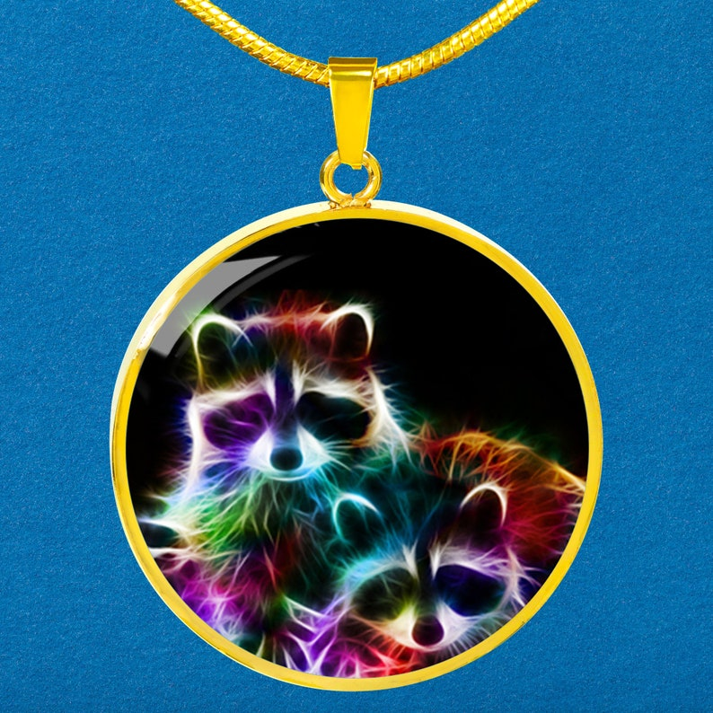 Raccoon Wildlife Fractal Necklace Custom Engraved 18k Gold Silver Circle Charm Gifts Personalized Animal Pendant Necklace