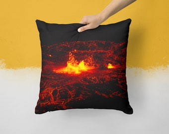 Molten Lava Pillow Black Throw Pillows Volcano Pillow Fire Landscape Photography Gifts For Him Gifts For Dad Home Decor Gifts For Boyfriend
