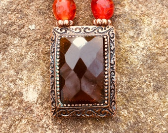 Copper, Red, Brown Art Nouveau looking Necklace