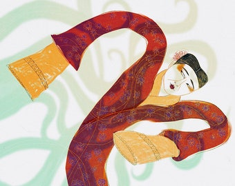 Illustrated art print, Chinese Female Dancer
