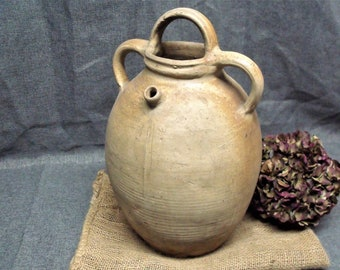 Antique French Large Earthenware Oil Jug