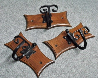 Vintage French Oak & Wrought Iron Coat Hooks