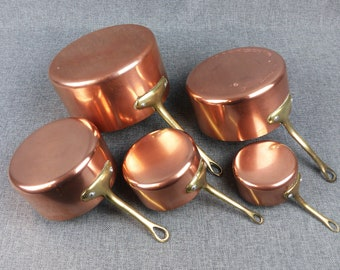 Vintage French Copper Pans - Set of 5