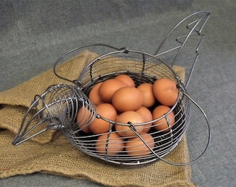 Vintage French Wire Chicken Egg Basket
