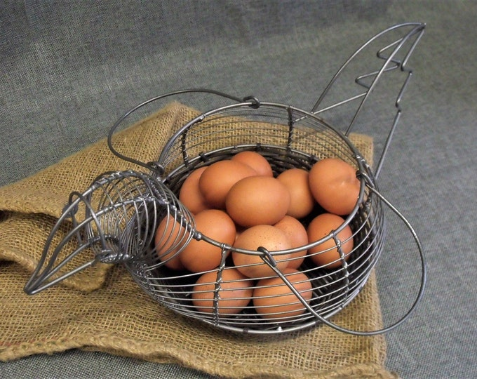 Featured listing image: Vintage French Wire Chicken Egg Basket