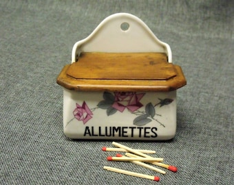 Vintage French Porcelain Match Box