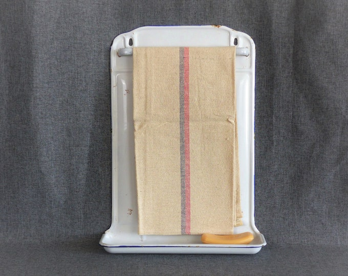 Featured listing image: Vintage French Enamelware Utensil Rack