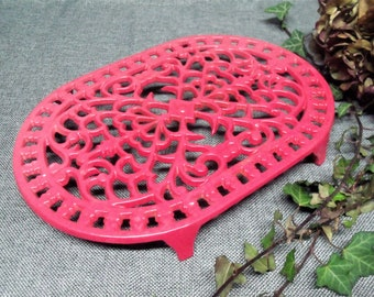 Vintage French Red Enamel Cast Iron Trivet.